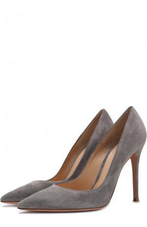 Замшевые туфли Gianvito 105 на шпильке Rossi. Цвет: серый