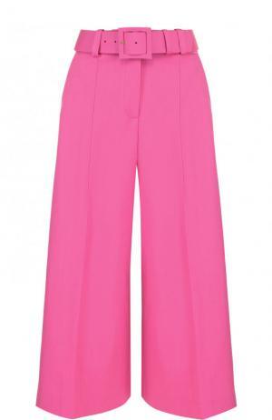 Укороченные шерстяные брюки с ремнем Oscar de la Renta. Цвет: розовый