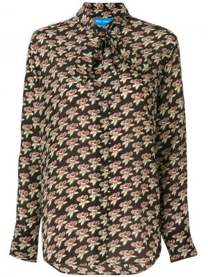 Рубашка с завязкой на воротнике Twigs Mih Jeans. Цвет: коричневый
