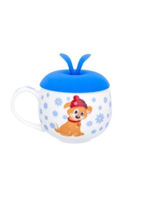 Кружка Щенок в шапке со снежинками Elan Gallery. Цвет: белый, бежевый, голубой
