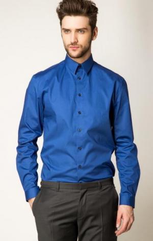 Синяя рубашка с длинными рукавами DRYKORN. Цвет: синий