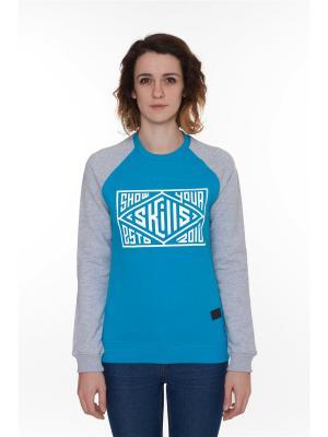 Свитшот SKILLS W Quad Сrewneck. Цвет: синий, лазурный, серый меланж