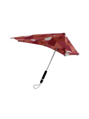 Зонт-трость senz Original african red blocks. Цвет: бордовый, лиловый, рыжий
