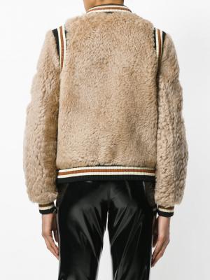 Куртка бомбер с нашивками Coach. Цвет: коричневый