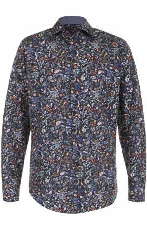 Хлопковая рубашка с принтом Paul&Shark. Цвет: синий