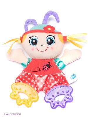 Мягкая игрушка-прорезыватель Божья Коровка Playgro. Цвет: кремовый, малиновый, фиолетовый