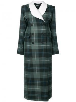 Двубортное пальто в шотландскую клетку Alessandra Rich. Цвет: синий