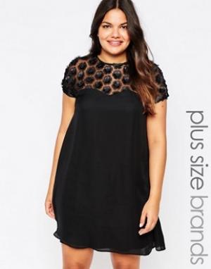 Praslin Свободное платье с накладными цветами Plus. Цвет: черный