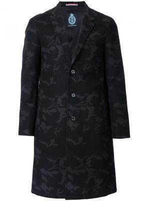 Жаккардовое однобортное пальто Guild Prime. Цвет: чёрный