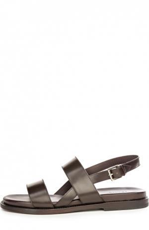 Кожаные сандалии Brioni. Цвет: темно-коричневый