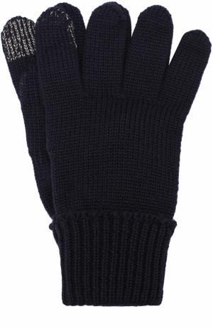 Шерстяные перчатки с металлизированной отделкой Il Trenino. Цвет: темно-синий