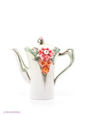 Заварочный чайник Георгин Pavone. Цвет: зеленый, молочный