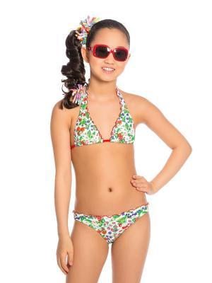 Купальник для девочек Arina. Цвет: зеленый,красный,белый