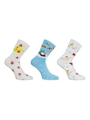 Носки, 3 пары Master Socks. Цвет: молочный, лазурный