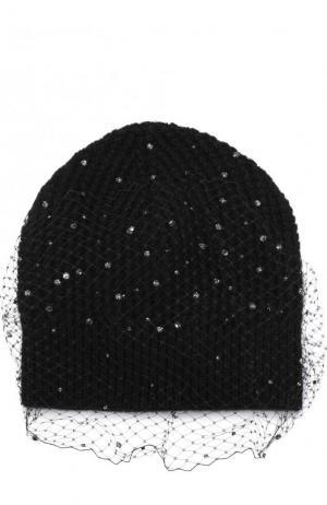Шерстяная шапка с отделкой из страз и сеточкой Jennifer Behr. Цвет: черный