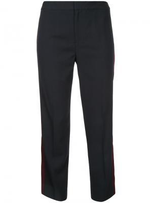 Укороченные брюки с полосками по бокам Le Ciel Bleu. Цвет: синий