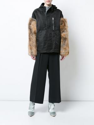 Куртка с капюшоном и меховыми рукавами Sandy Liang. Цвет: чёрный
