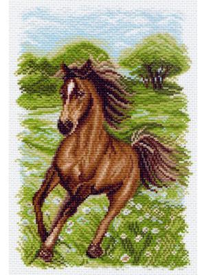 Рисунок на канве Пейзаж с лошадью Матренин Посад. Цвет: зеленый, коричневый