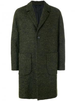 Однобортное пальто мешковатого кроя Hevo. Цвет: зелёный