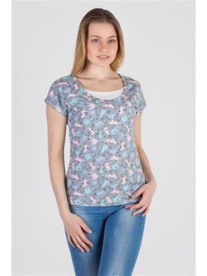Блуза с секретом кормления Ням-Ням. Цвет: серый, голубой, розовый