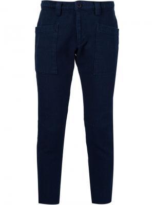 Укороченные брюки кроя скинни Sashiko Blue Japan. Цвет: синий