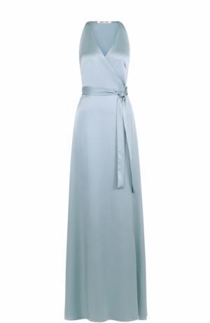 Платье-макси с запахом и поясом Diane Von Furstenberg. Цвет: голубой