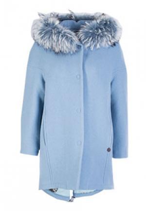 Пальто MOUCHE. Цвет: голубой