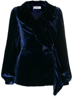 Блузка с V-образным вырезом Racil. Цвет: синий