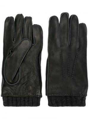 Перчатки с трикотажной отделкой Paul Smith. Цвет: коричневый