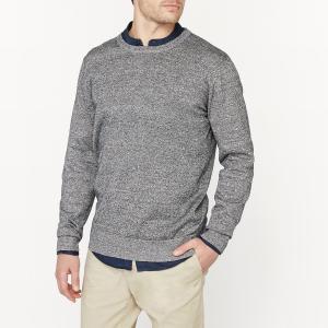 Пуловер с круглым вырезом из смесовой ткани льна La Redoute Collections. Цвет: бежевый меланж,хаки меланж