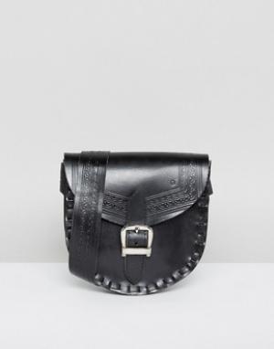 Park Lane Кожаная сумка на пояс с регулируемым ремешком. Цвет: черный