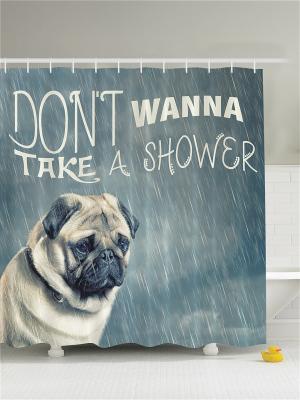 Фотоштора для ванной Милые собаки, 180*200 см Magic Lady. Цвет: бежевый, белый, молочный, светло-серый, серый, черный