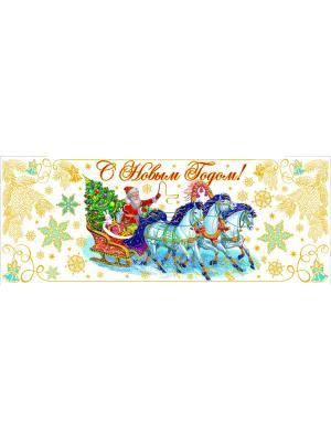 Украшение новогоднее оконное  Дед Мороз на тройке Magic Time. Цвет: золотистый, зеленый, голубой, красный