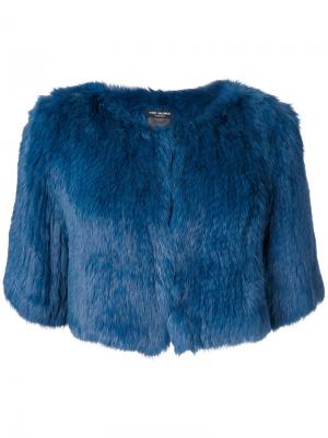 Укороченная куртка с короткими рукавами Yves Salomon Accessories. Цвет: синий