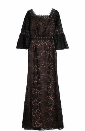 Приталенное кружевное платье-макси Tadashi Shoji. Цвет: черный