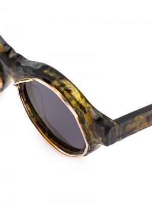 Солнцезащитные очки в круглой оправе Kuboraum. Цвет: жёлтый и оранжевый