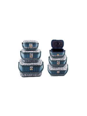 Набор шкатулок для рукоделия из 3-х шт. Русские подарки. Цвет: синий