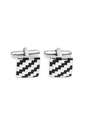 Запонки классика квадратные черные узоры Churchill accessories. Цвет: серебристый