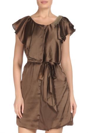 Свободное платье с поясом GF FERRE. Цвет: коричневый