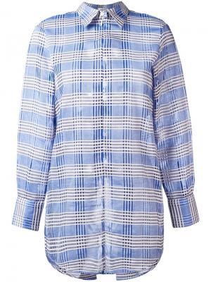 Клетчатая рубашка со шнуровкой Au Jour Le. Цвет: синий