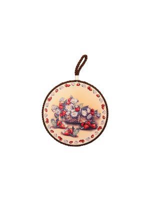 Подставка под горячее Корзина с клубникой Elan Gallery. Цвет: красный, коричневый, бежевый