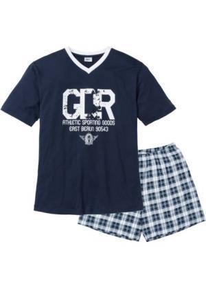 Пижама с  шортами (темно-синий/белый) bonprix. Цвет: темно-синий/белый
