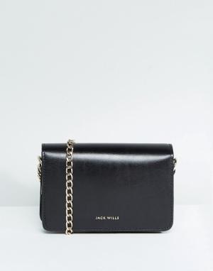 Jack Wills Кожаная сумка с цепочкой. Цвет: черный