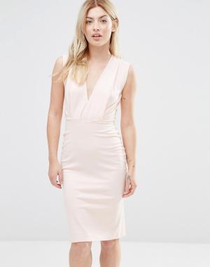 Alter Petite Платье-футляр длины миди с V-образным вырезом. Цвет: розовый