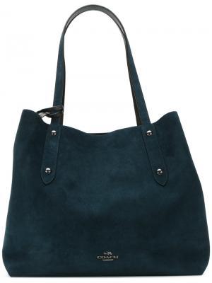 Большая сумка-тоут Coach. Цвет: синий