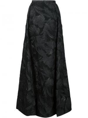 Длинная юбка с жаккардовым узором Delpozo. Цвет: чёрный