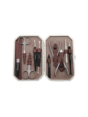 Маникюрный набор Solinberg Comfort Line FR-1722, 10 предметов , футляр - кожа.. Цвет: серый