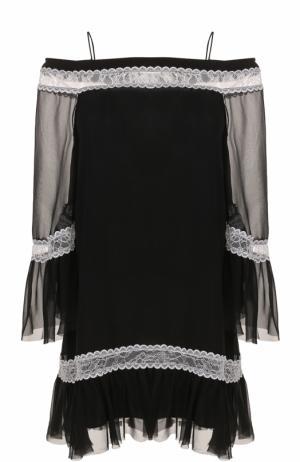 Мини-платье свободного кроя с открытыми плечами Alice + Olivia. Цвет: черно-белый