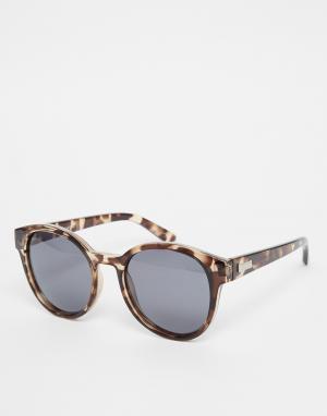 Le Specs Круглые солнцезащитные очки с поляризованными стеклами Exclus. Цвет: коричневый