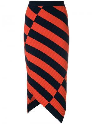 Асимметричная юбка в полоску Altuzarra. Цвет: жёлтый и оранжевый